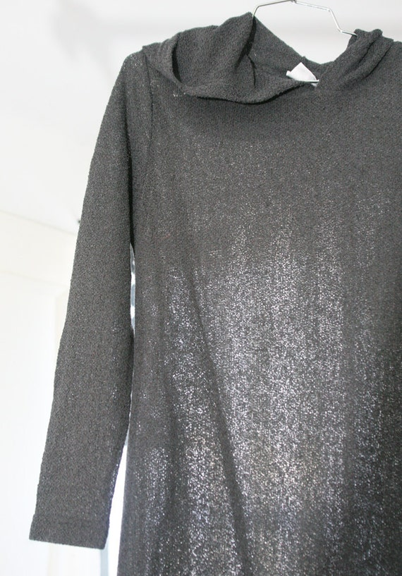 Amazing Charcoal Grey Floor-Length Sheer Stretchy Mesh Hooded 90s Dress / Cloak