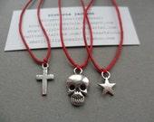 Any 3 cotton cord friendship bracelets (star, wishbone, skull, wish charm, cross, bunny, owl) - many colours