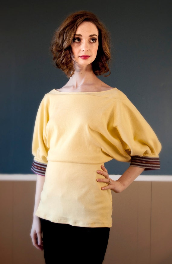 Buttermilk Draped Blouse with Sleeve Accents