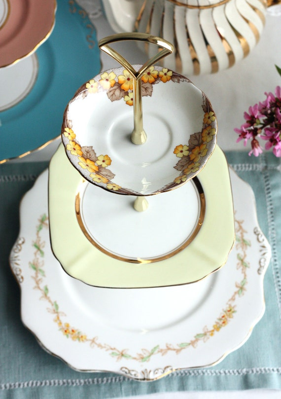 Pretty 3 tiered cake stand cupcake display by for Pretty cake stands