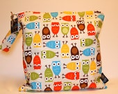 Wet Bag or Eco-bag with Snap Handle - Waterproof - Urban Zoologie - Owls Bermuda