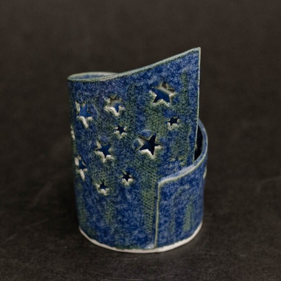 Pierced Blue Stars Porcelain Tealight Holder with Candle.