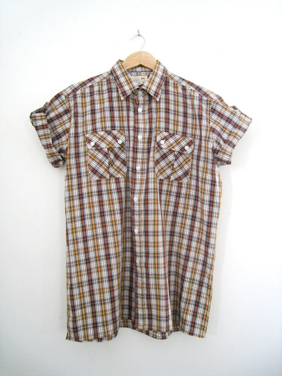 Reserved for arlenekock - Vintage Men's Roll Up Short Sleeve Check Shirt - Brown - Size Large