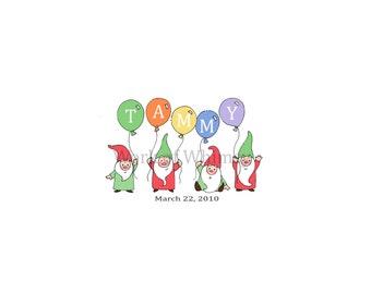 Garden Gnomes with 5 Balloons Personalized Name Print childs room decor babys room decor Christmas Birthday Gift home decor seasonal decor