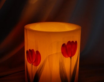Hurricane Candle - Dark Red Hand Painted Tulips On Yellow - Handmade Wax Lantern - Hygge Home Decor - Wax Lantern Candle - Forever Candle