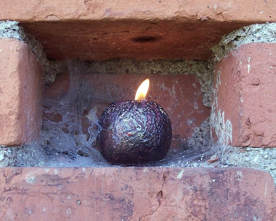 Holiday Candle - Rustic Ball Candle  - Handmade Black Red Gold Candle - Metallic Home Decor - Christmas Gift - Father's Day Gift