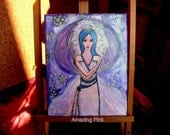 "Angel of Winter, Original Mixed Media Painting on 9,5"" x 12"" Canvas"