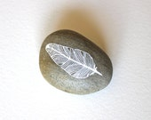 Handpainted Feather Stone - Patterned Feather - Paper Weight