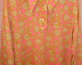Vintage 1960s/70's Pink Big Collar Retro Flower Shirt Pink Metal Zipper Blouse - Free Shipping