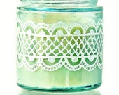 Hand Painted Jar Candle, Sky Blue Glass With Pearl White Detailing