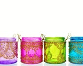Gift Set of Four Moroccan Lantern Votive Holders- In Fuschia, Purple, Turquoise, and Green Glass with Golden Details