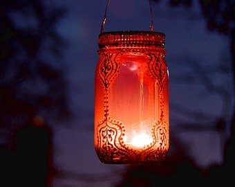 Moroccan Decor Outdoor Hanging Lantern, Eclectic Patio Decor,  Painted Mason Jar Lantern, Boho Henna Lamp, Great Gift for Her