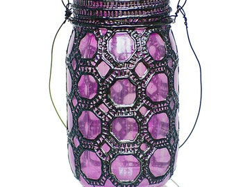Hand Painted Mason Jar Lantern, Violet Glass with Gunmetal Accents
