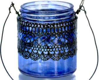 Small Hanging Jar Lantern Inspired by Moroccan Lanterns, Periwinkle Tinted  Glass With Black Accents