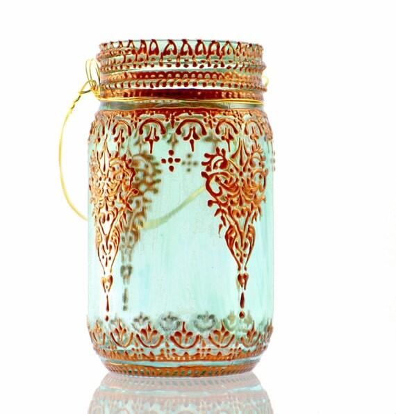 Aqua Mason Jar Lantern