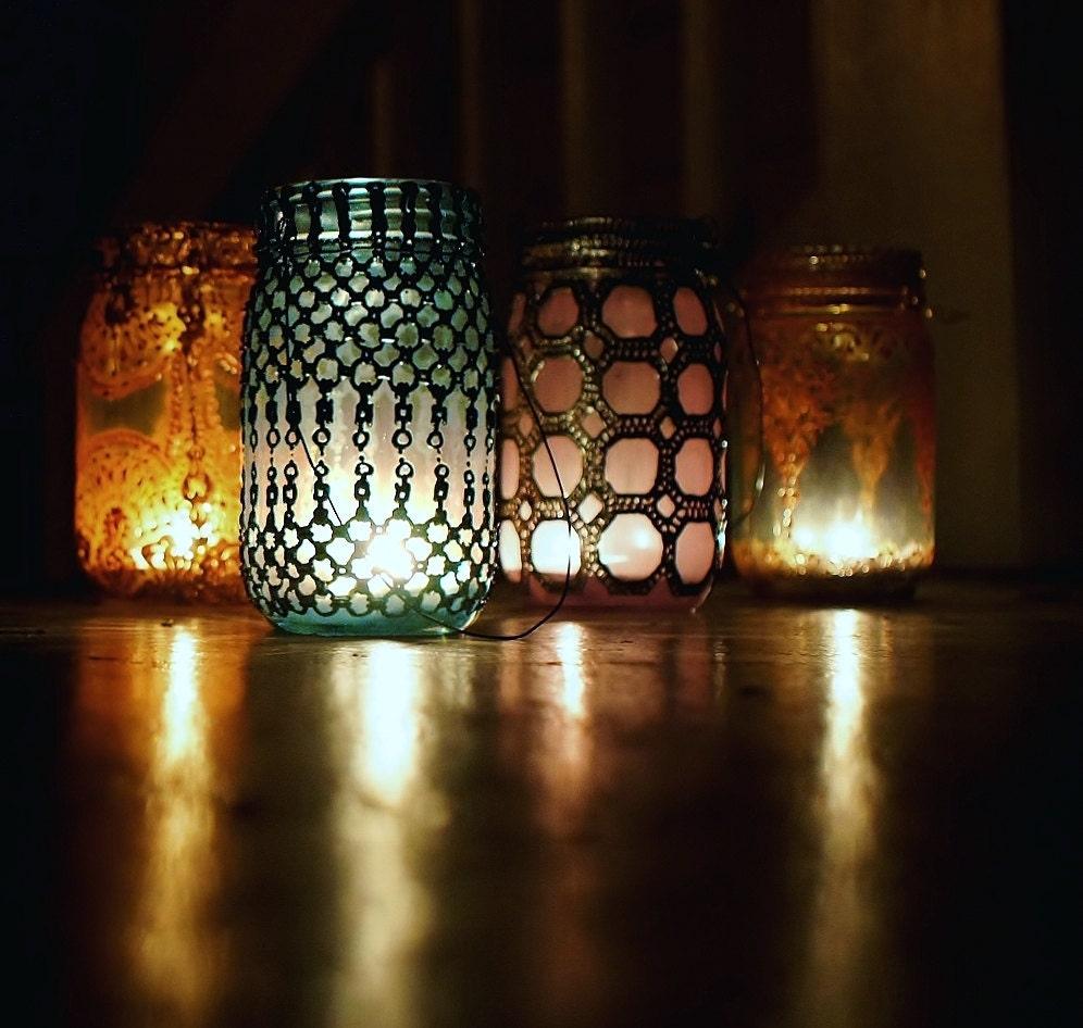Custom designed blue glass mason jar lantern with by litdecor for Designer glass jars