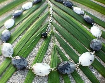 Faceted Tourmalinated Quartz Necklace