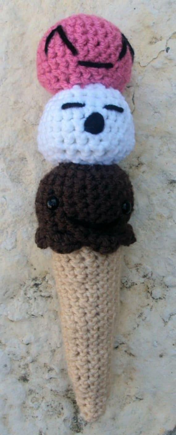 Mini Ice Cream Amigurumi : Items similar to Crochet Amigurumi Ice Cream Cone Three ...