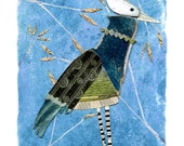 mixed media bird, mixed media art, mixed media print, mixed media collage, collage