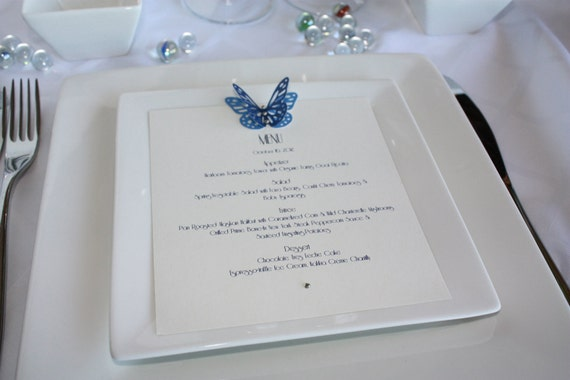 Blue Winter 3D Butterfly Menu Card with Swarovski Crystals for Wedding and every party.