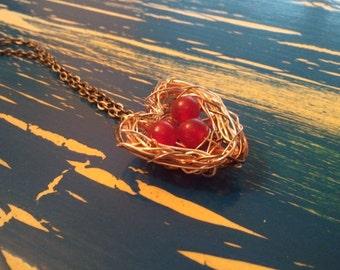 Love Bird Nest Full of Love Heart Shaped Necklace- Red Birds Nest Necklace
