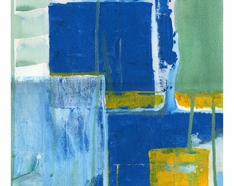 Original Abstract Acrylic Painting - Blue and Yellow Cubes