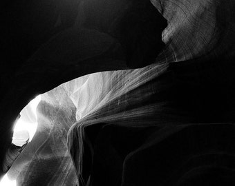 Black and white photograph of Antelope Canyon in Page, Arizona