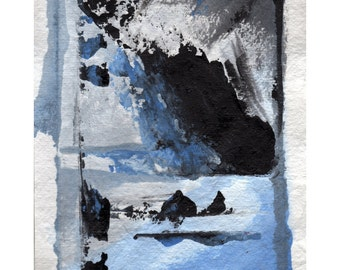 Abstract Ocean Print Blue and Grey Tones