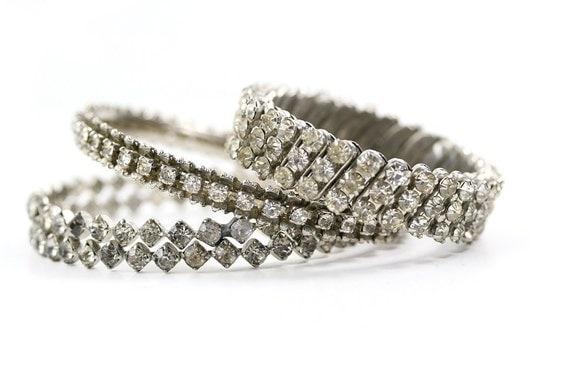Vintage 1950s / 1960s Rhinestone Bracelets Set, Silver / Clear