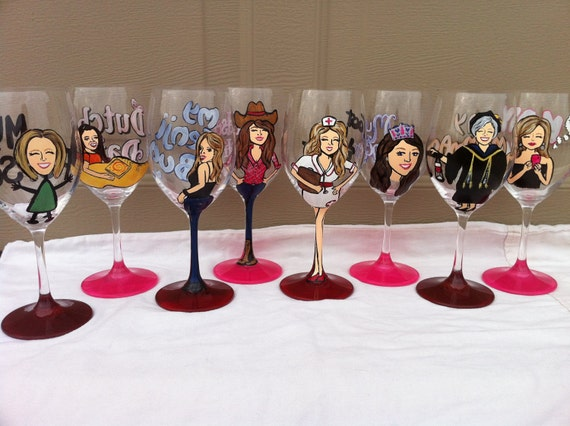 Reserve Listing for Jaimie: 2 Custom Hand-Painted Wine Glass 18.5oz