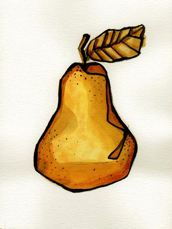 Fruits - Drawings with ink on acid free paper Sennelier 200 gr - Peach / Yellow / watercolor / Ink by Cristina Ripper