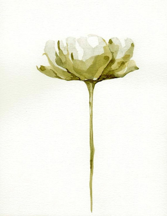 RESERVED FLOWERS - Tulip / Papoila - Drawings with Ink, pencil and acrylic - Brown / beige / 6.1 x 7.8 inches by Cristina Ripper