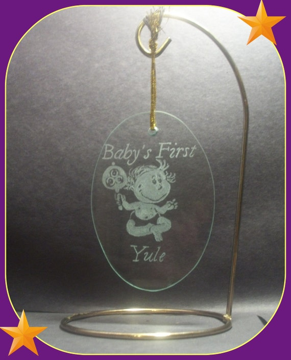 Yule Ornament, Baby's first Yule , hand engraved glass oval International shipping available