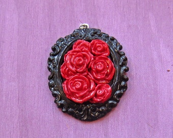 Pile of Red Roses (Polymer Clay Pendant)