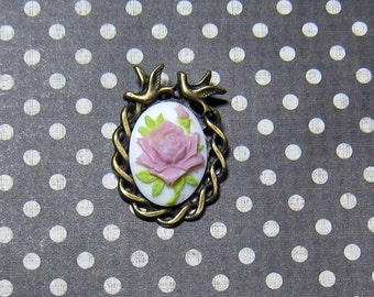 Purple Rose Cameo Pendant