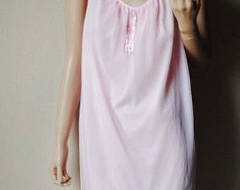 Vintage Pink Sheer Overlay Lacy Hem Nightgown - Size Medium