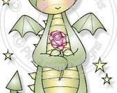 Digital (Digi) Denzil Dragon with Rose Stamp