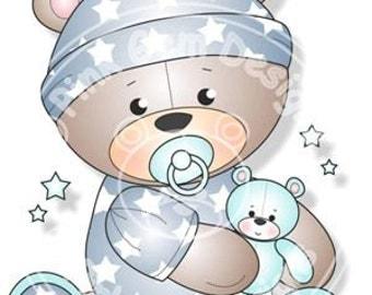 Digital (Digi) Baby Boy Teddy Stamp