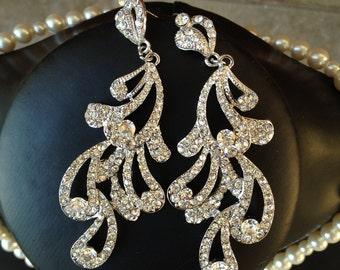 Crystal peacock feather chandelier bridal earrings