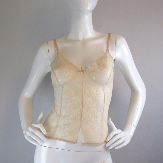 vintage lace camisole / vintage lingerie / YVES ST LAURENT / nude / sheer