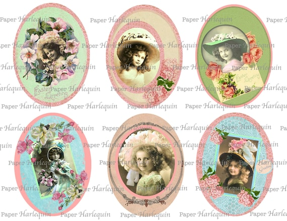 Easter Pretty Edwardian Girls Printable Vintage Style Lovelies Digital Set of Six PASTEL Scrapbook Tags Altered ART Cards OVAL
