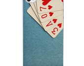 "FREE SHIPPING iPhone 4 /4S case ""A Full House"" ,poker, cards, heart, hearts, red, blue"