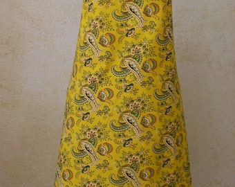 Apron - Handmade Paisley Full Adult Chef Aprons - French Provence Inspired Yellow Cotton Fabric Apron for Women Small to Plus Size