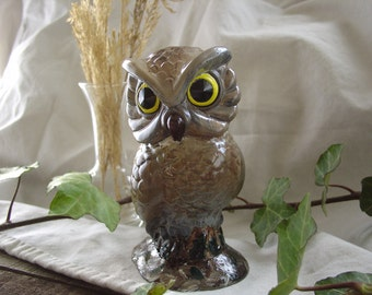 Owl - Miniature Cement Statue Figurine - Indoor Outdoor Decoration - Desk, Table, Party, Knickknack.