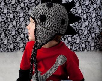 Custom Order crochet Dinosaur earflap beanie hat