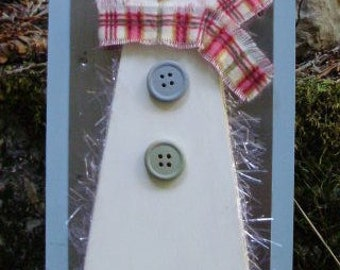 Wooden Snowman Plaque With Faux Snowflakes