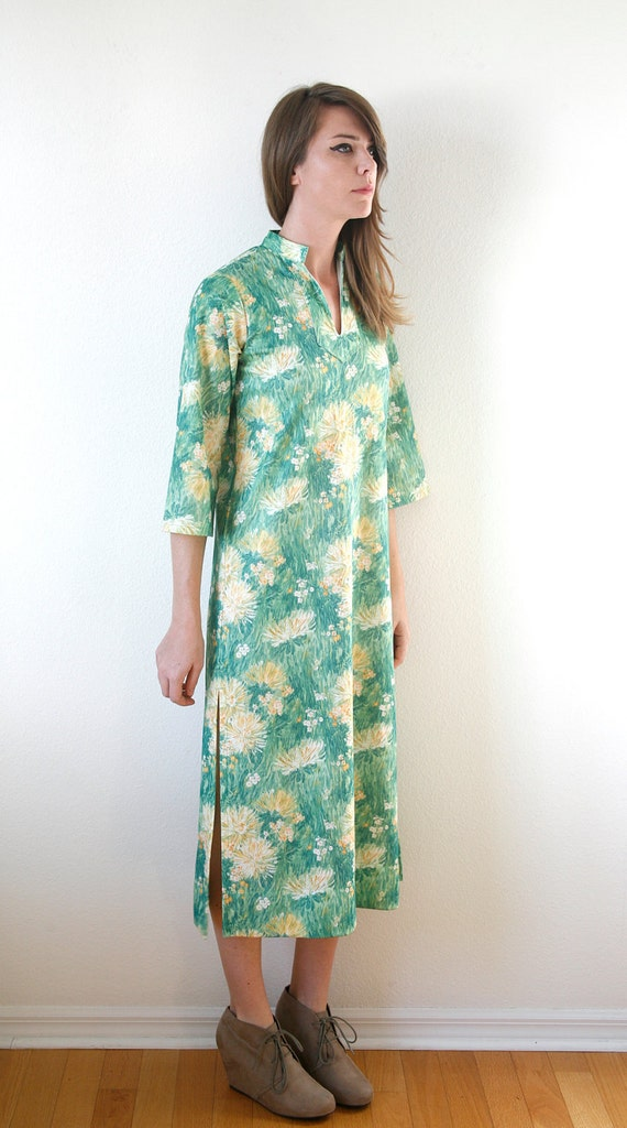 Impressionist Green and Yellow Floral Print Long Dress Vintage 70s