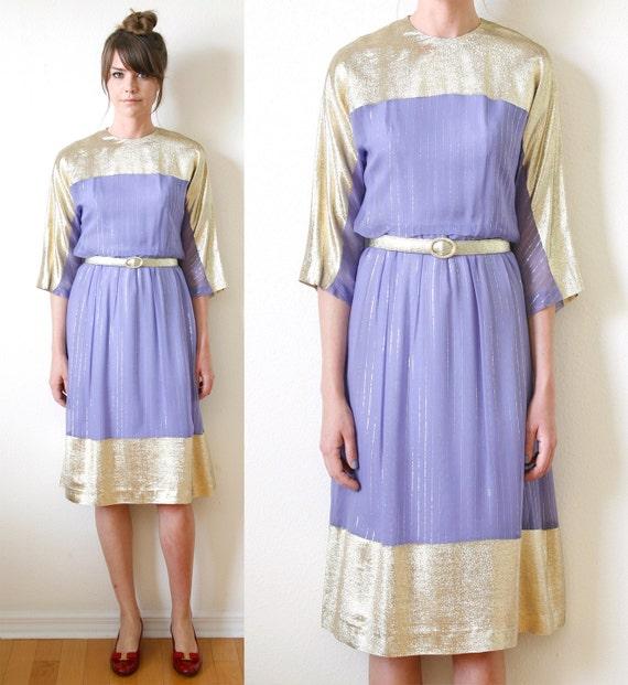 Lavender & Gold Lame Dress Gold Thread Stripes Vintage 70s