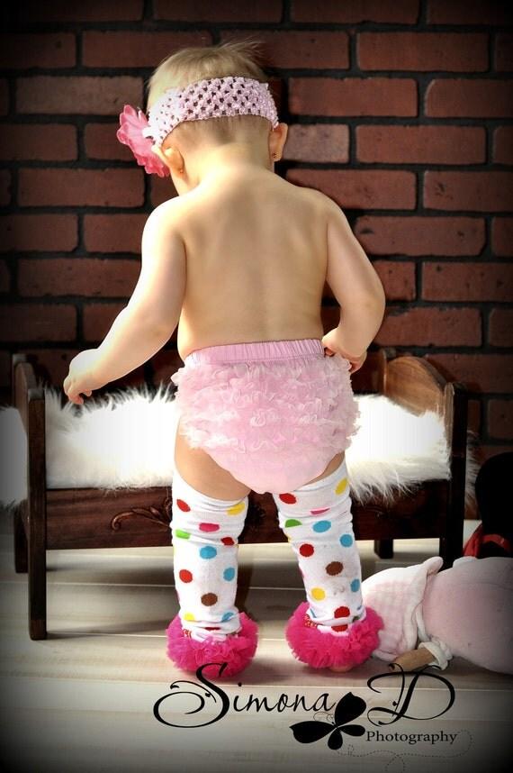 Multi Color Polka Dot Leg Warmers with Pink Ruffle-WHOLESALE LEG WARMERS