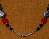 NECKLACE ONYX SILVER Pommegranate Cornelian Red Black Tibet Silver Chic